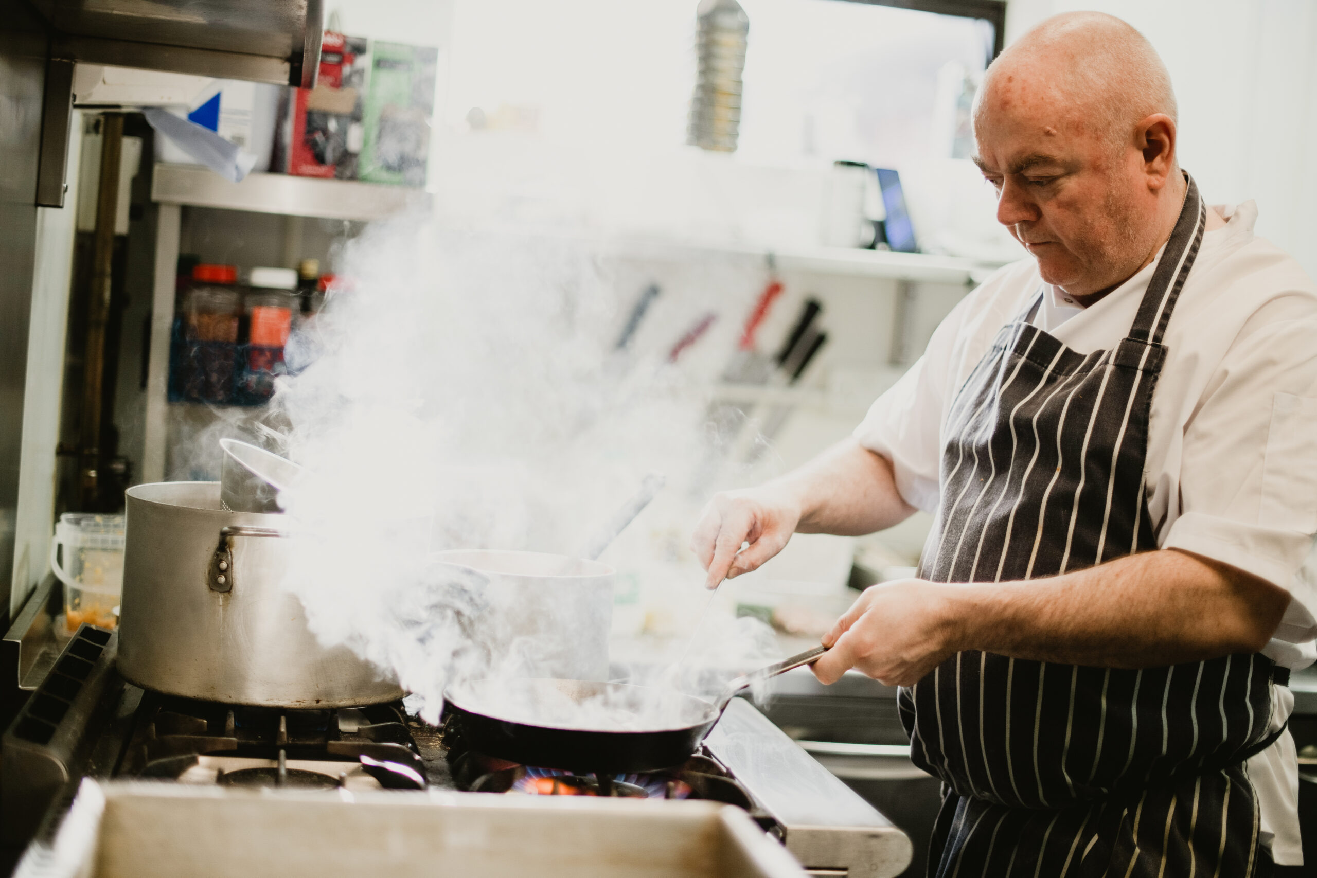 Padrig Jones inside the Pizzeria Villaggio kitchen in Cardiff